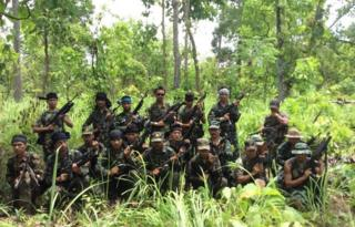 The joint Naga-Manipuri rebel party which attacked the Indian troops killing 18 last week -- photo released by NSCN (Khaplang faction)