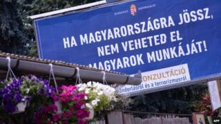 "State-funded billboard in Budapest reads: ""If you come to Hungary, do not take Hungarians'"" jobs"