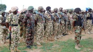 Nigerian troops on the frontline against Boko Haram in Borno State, northeast Nigeria