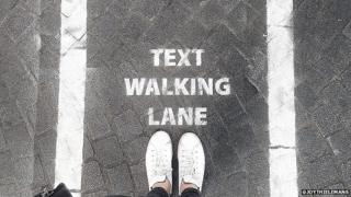 'Text walking lane' in Antwerp (June 2015)