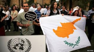 Demonstration in favour of a peace settlement over divided Cyprus in Nicosia on 11 May 2015