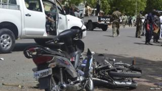 security officials cordon off the area targeted in Ndjamena