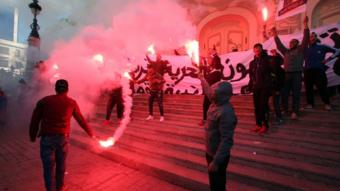 جانب من المظاهرات في تونس