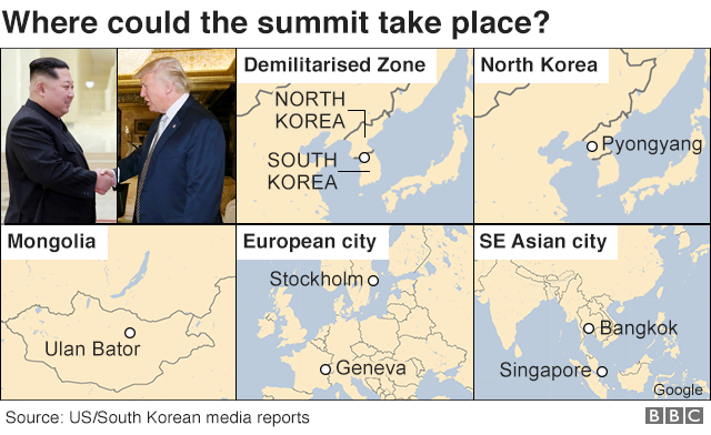 Graphic showing some possible locations for the Trump-Kim summit, including the Demilitarised Zone