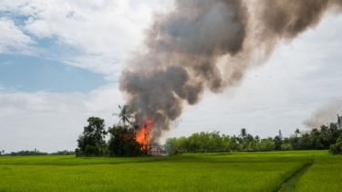 A small village in the distance, over a verdant green field, burns fiercely under a column of thick black smoke