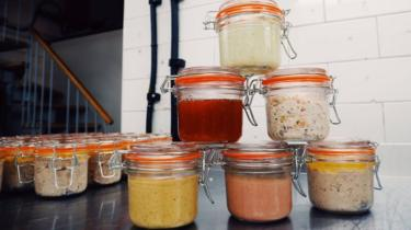 Kilner jars at Bean and Wheat