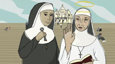 Illustration of nuns on the steps in front of Sacre-Coeur