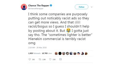A tweet by Chance the Rapper