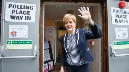 Nicola Sturgeon at a polling station