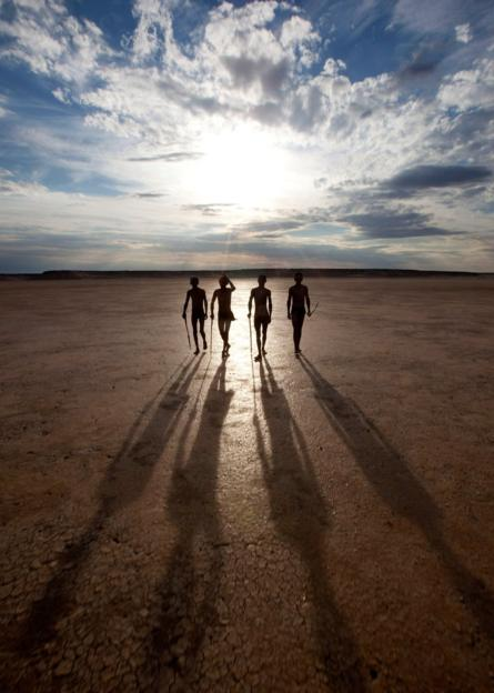 People walking in Khomani area of South Africa