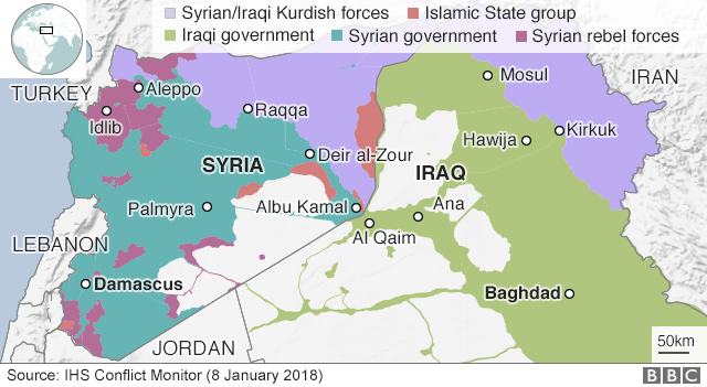 Map showing control of Syria and Iraq (8 January 2017)
