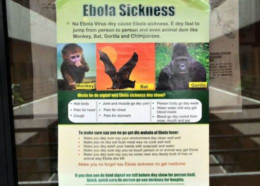 A poster reading 'Ebola Sickness' is displayed at the main entrance of Nigerian Health Minister's office in Abuja on August 6, 2014.