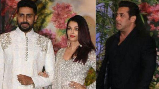 Abhishek Bachchan da matarsa Aishwarya da Salman Khan a wajen bikin Sonam Kapoor
