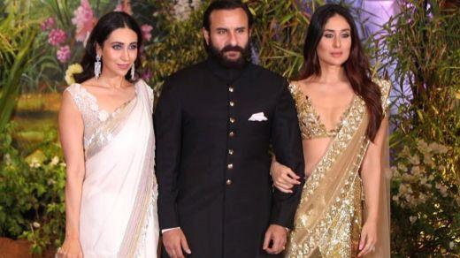 Saif Ali Khan da matarsa Kareena Kapoor da 'yar uwarta Karishma Kapoor a wajen walimar Sonam Kapoor