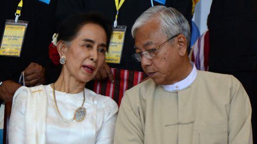 Aung San Suu Kyi with Myanmar President Htin Kyaw