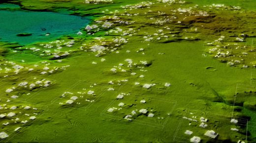 A Lidar image showing hundreds of previously unseen structures.