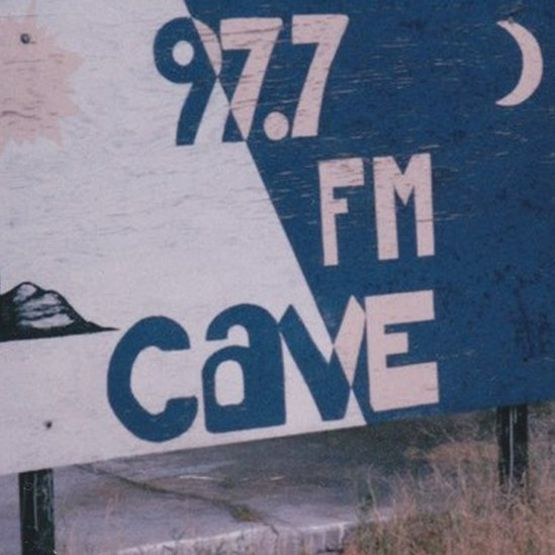 Cave 97.7 FM sign in Benson