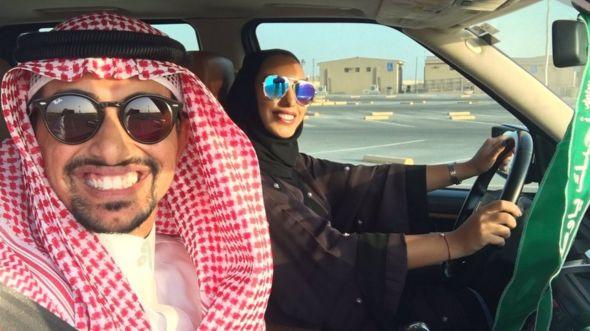 Faisal BaDughaish and wife driving in a carpark