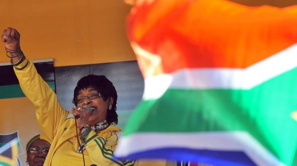 "A file photo of Winnie Madikizela-Mandela addressing members of South Africa""s ruling party African National Congress (ANC) during a street party on June 04, 2010"