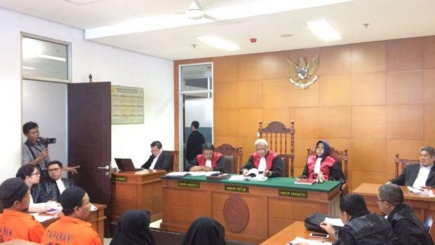 Empat terdakwa kasus bom panci, Agus Supriadi, Nur Solihin, Tutin Sugiarti, dan Dian Yuli Novi,