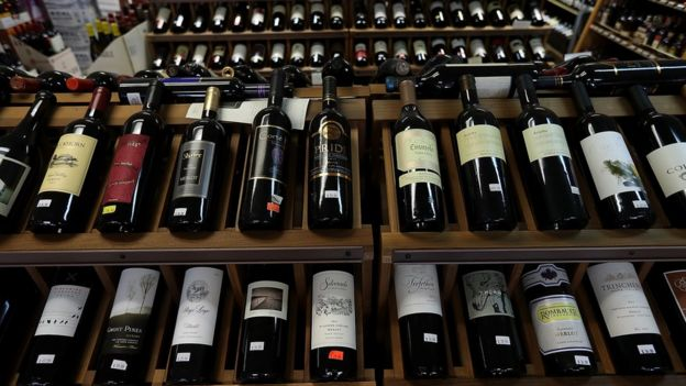 Bottles of California wines are displayed on a shelf at John and Pete's Fine Wine and Spirits on February 14, 2017 in Los Angeles, California.
