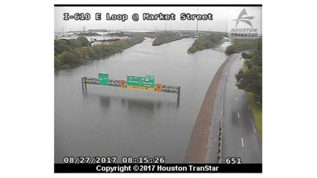 CCTV image shows flooded road in Houston