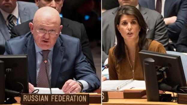El embajador ruso, Vassily Nebenzia, y la embajadora estadounidense, Nikki Haley