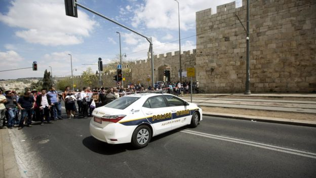 Police at the scene of the attack in Jerusalem