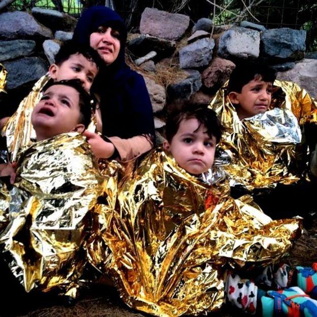 Migrantes recién llegados a Grecia