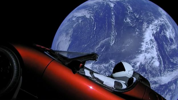 Tesla Roadster no espaço Foto: SpaceX