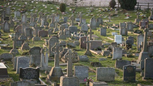 Một nghĩa trang ở Hạt Bắc Somerset, Anh Quốc. Các ngôi mộ phần lớn không cầu kỳ và chỉ có một tấm bia đá tưởng niệm.