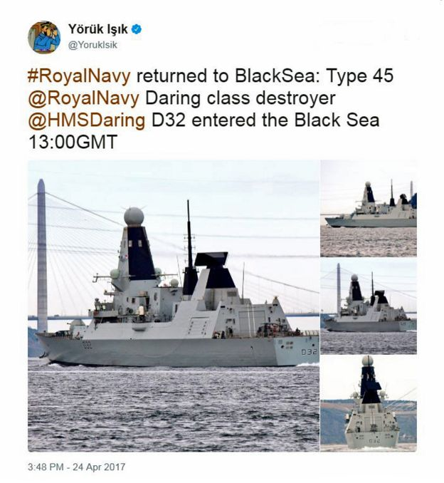 A tweet from the account of @YorukIsik about HMS Daring