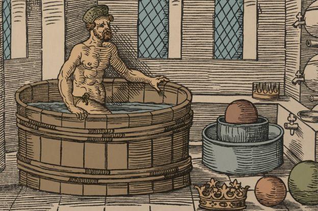 Dibujo de Arquímedes en la bañera