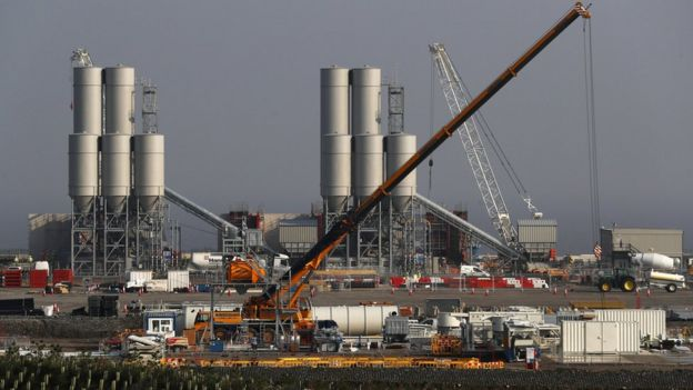 Hinkley Point C nuclear power station site is seen near Bridgwater in Britain