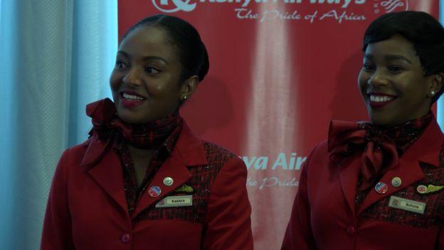 Wahudumu wa Kenya Airways wakati wa uzinduzi huo