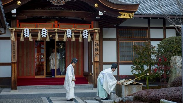 Shinto priests in Japan