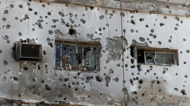 Bullet-ridden building in Awamiya, Saudi Arabia (9 August 2017)