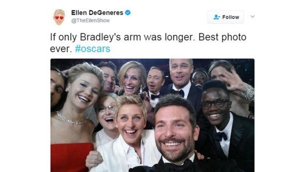 Selfie de los Oscar 2014 publicado en Twitter por Ellen DeGeneres
