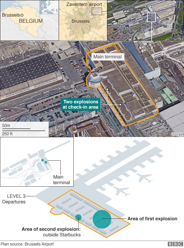 A map showing the location of two explosions at Zaventem airport, Brussels
