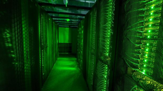 Servers for data storage in Hafnarfjordur, Iceland, which is trying to make a name for itself in the business of data centres - warehouses that consume enormous amounts of energy to store the information of 3.2 billion internet users.