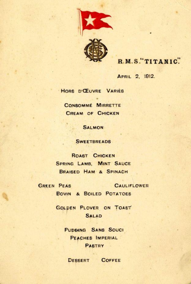 меню титанік перший обід продано