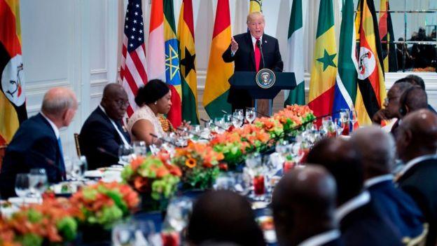 Donald Trump durante el almuerzo con presidentes africanos.
