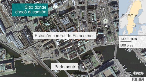 Mapa del lugar del ataque en Estocolmo