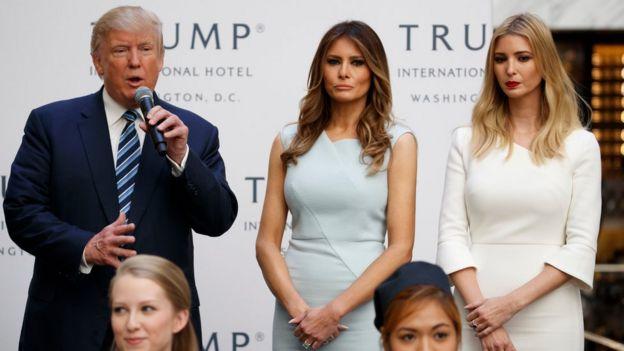 Donald Trump na Melania na Ivanka