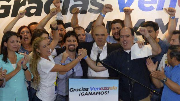 Opositores celebran triunfo electoral en 2015.