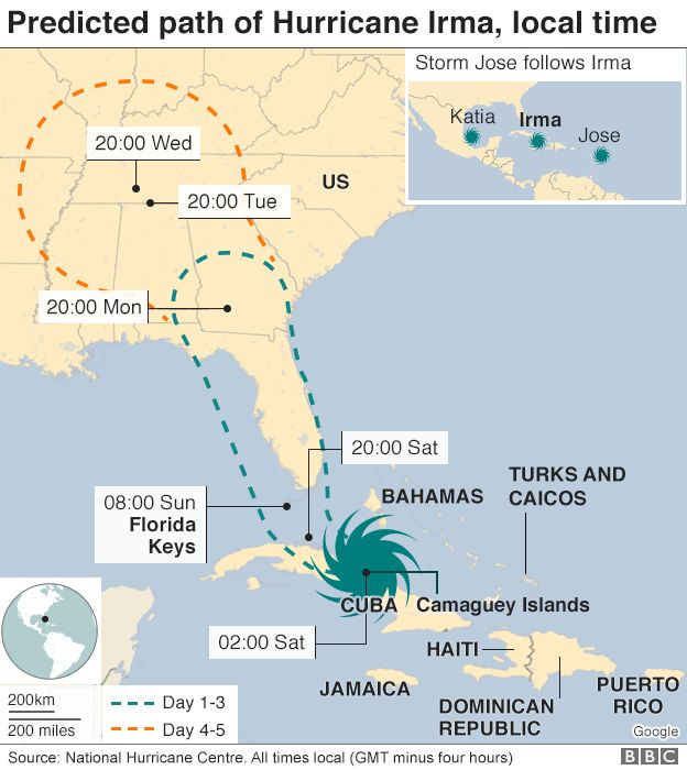 Hurricane Irma Cuba Hit With Strong Winds And Heavy Rain BBC News - Map of us and cuba