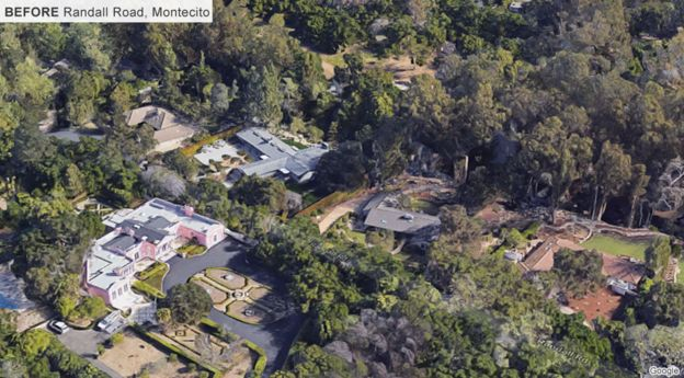 aerial shot of Randall Road, Montecito before the flood - house roofs, gardens and trees
