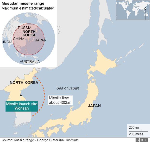 North Korea Missiles A Serious Threat After New Tests BBC News - Japan map missile