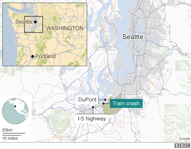 Washington Train Crash Deaths As Rail Carriages Fall On US - Us google rail map