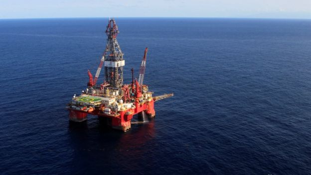 Plataforma petrolera en el Golfo de México.